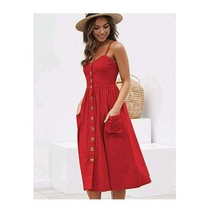 RedSoid Spaghetti Strap Button Down Pocket Dress